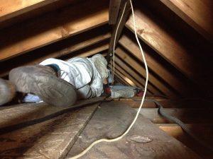 Worker in attic