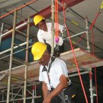Fall Protection Student suspended during fall protection training