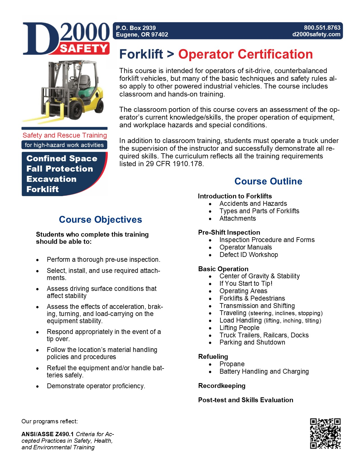 Forklift Operator Trainingcertification D2000 Safety